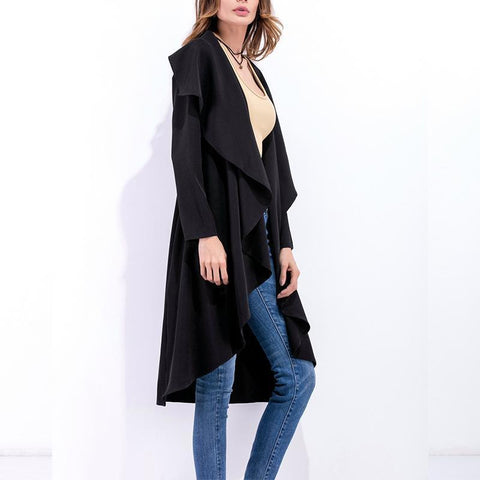 Image of Fashion Asymmetrical Collar Long Sleeve Plain Trench Coats Apricot xl