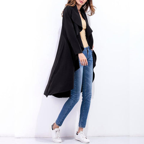 Image of Fashion Asymmetrical Collar Long Sleeve Plain Trench Coats Black s