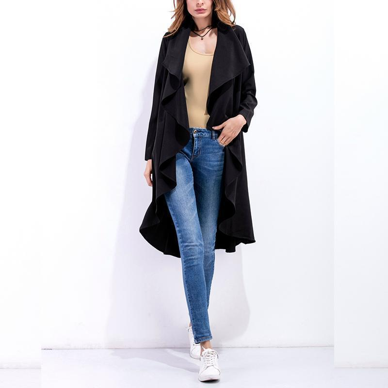 Fashion Asymmetrical Collar Long Sleeve Plain Trench Coats Apricot l