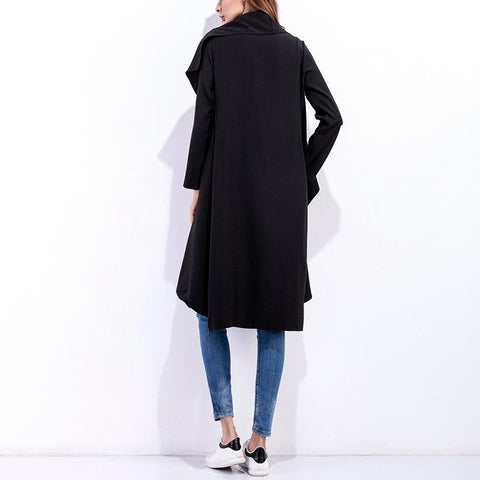 Image of Fashion Asymmetrical Collar Long Sleeve Plain Trench Coats Black m