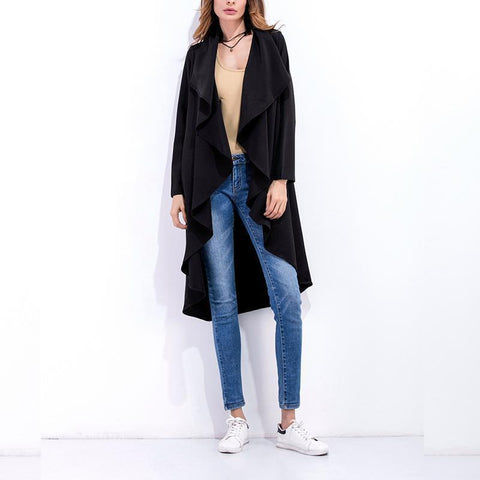Image of Fashion Asymmetrical Collar Long Sleeve Plain Trench Coats Apricot m