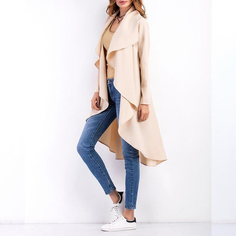 Image of Fashion Asymmetrical Collar Long Sleeve Plain Trench Coats Black xl