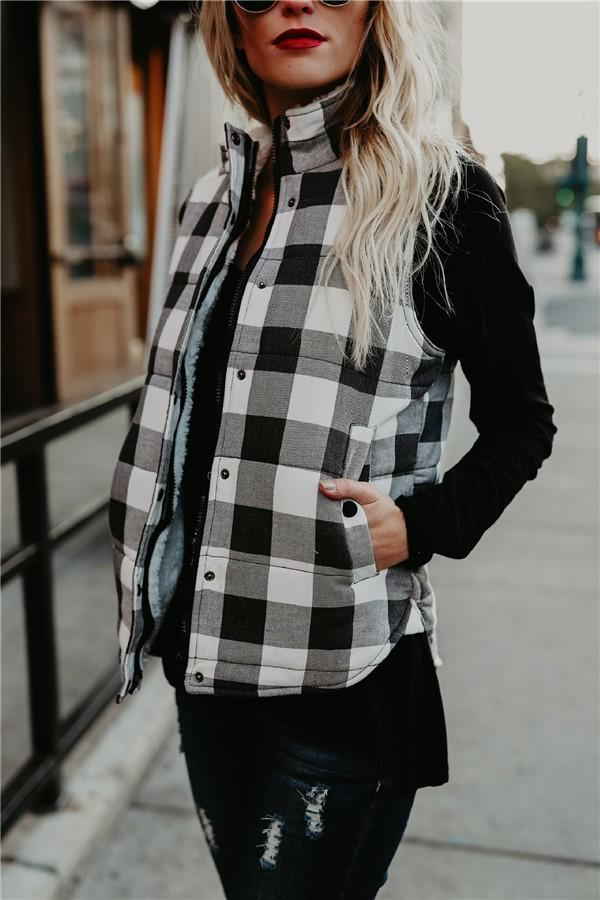 Fashion Plaid Quilted Warm Vest White s