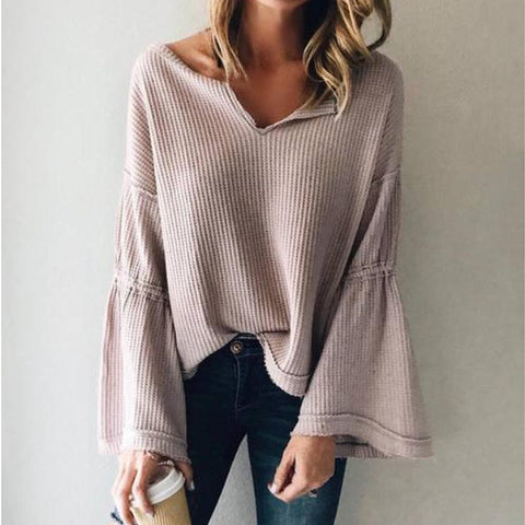 Image of Flared Sleeve V-Neck Knit Top Same As Photo xl