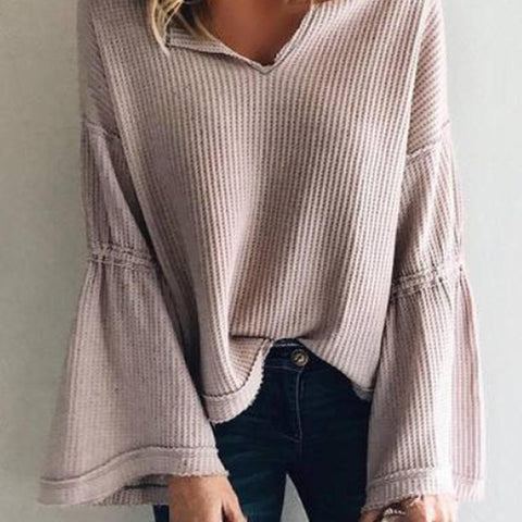 Image of Flared Sleeve V-Neck Knit Top Same As Photo l