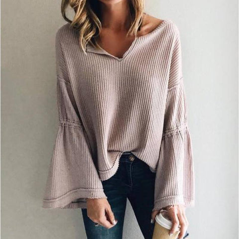 Image of Flared Sleeve V-Neck Knit Top Same As Photo m