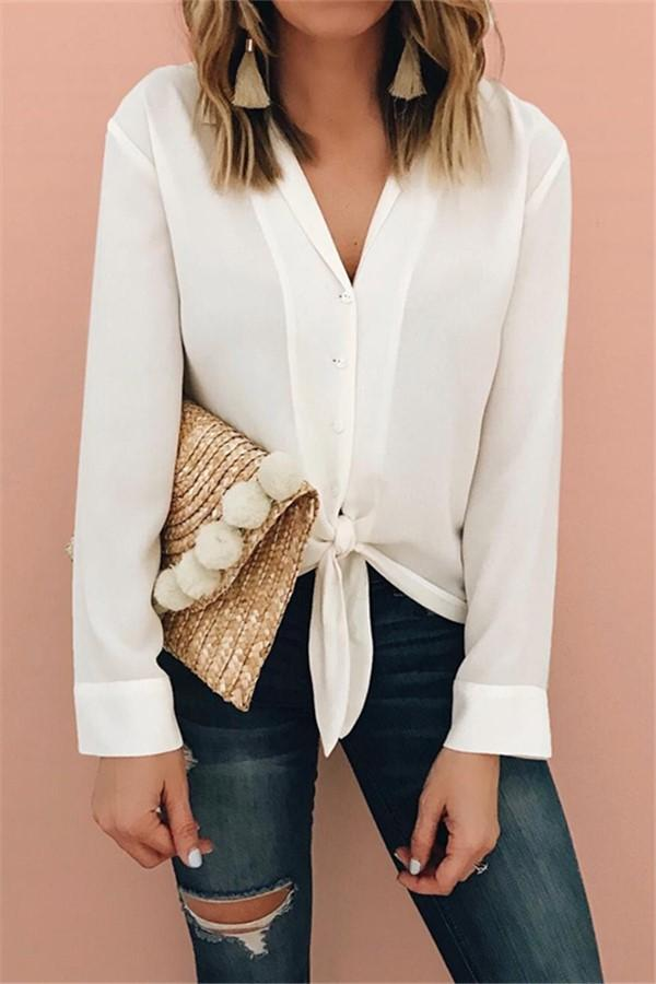 Pure Color Fashion Lapel With Loose Long-Sleeve Shirt White s