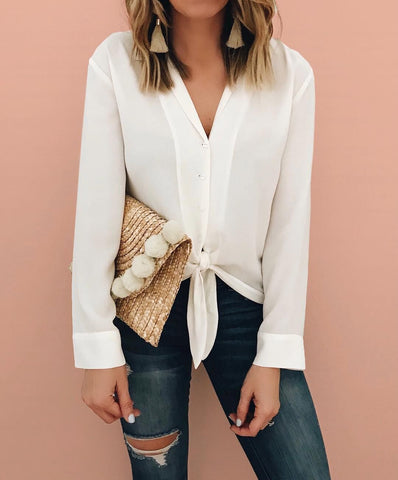 Image of Pure Color Fashion Lapel With Loose Long-Sleeve Shirt White m