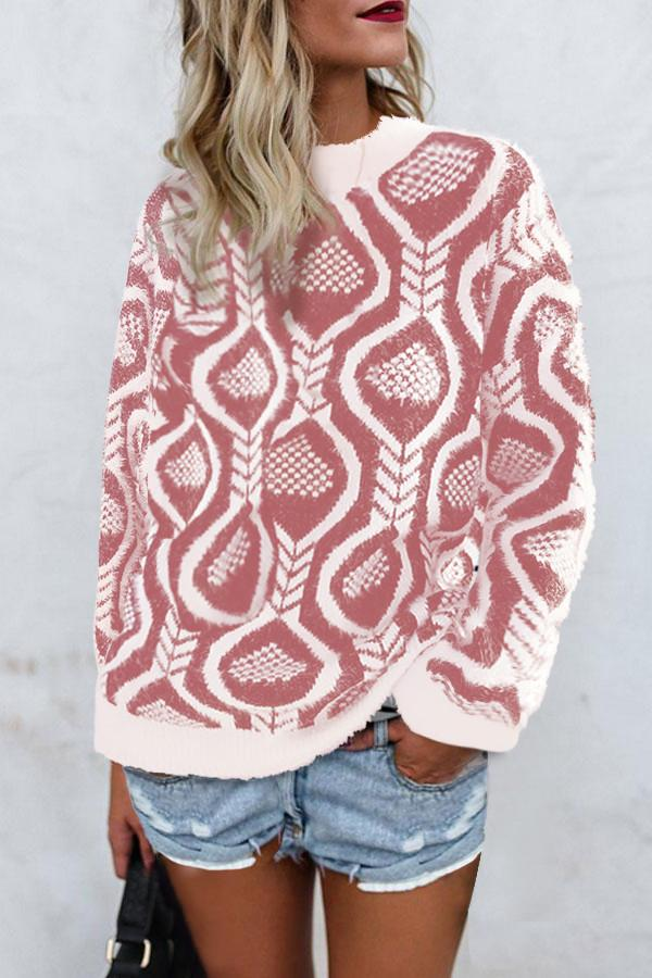 Fashionable Loose   Round Neck Sweater Knitted Sweater Pink one size