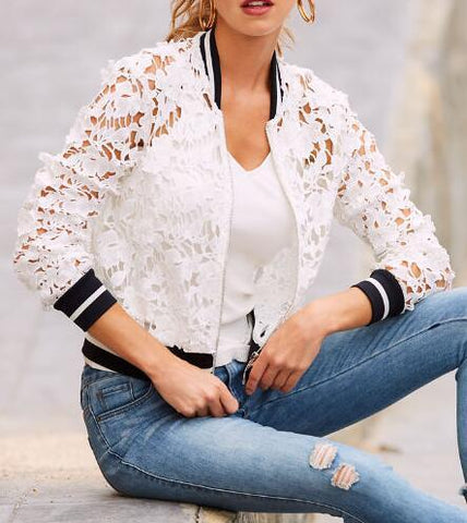 Image of Pure Color Lace Cutout   Casual Coat White m