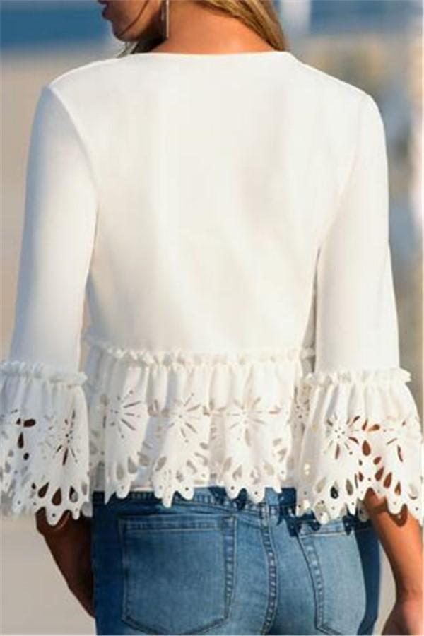 Pure Color Long Sleeve   Jacket With Lace Cutout And Burn White s