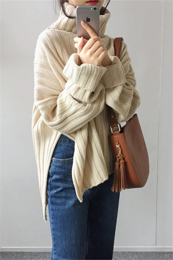 Pure Color Loose Pit   Bar With Wide Slit Turtleneck Sweater Apricot one size