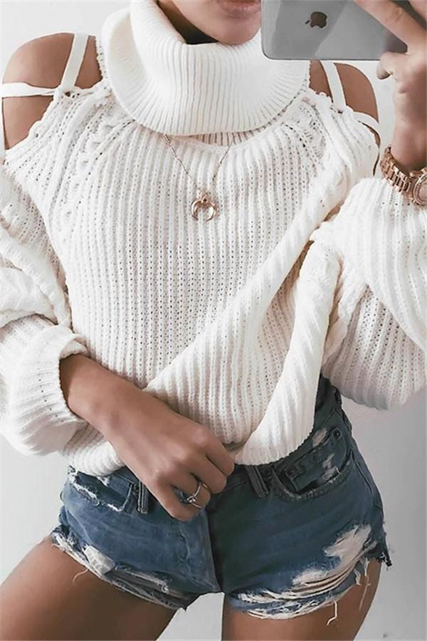 Pure Color High Neck   Warm Torn Sweater White s