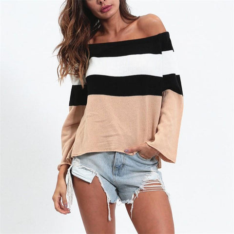 Image of Sexy One Word Shoulder Short Stripe Sweater Knitted Apricot l