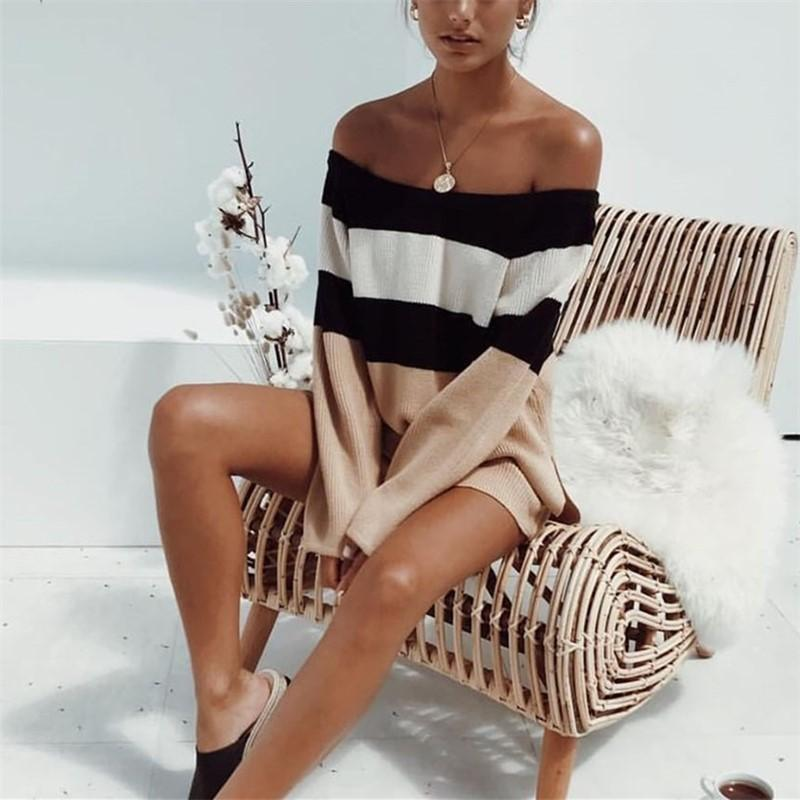 Sexy One Word Shoulder Short Stripe Sweater Knitted Apricot m