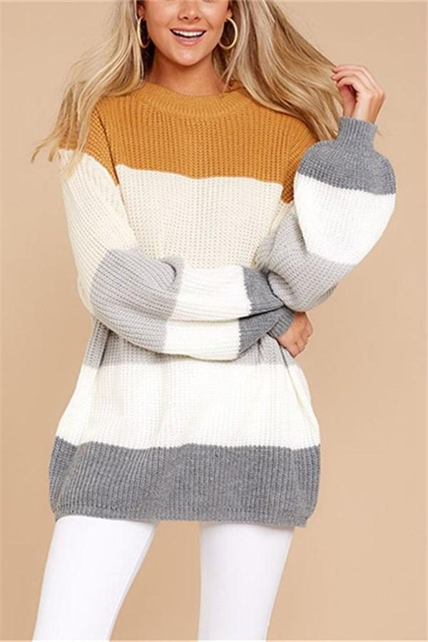 Color Block Stitching Long And Loose Knitted Sweater White s