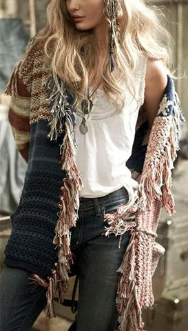 Image of Fashion Fringe   Cardigan With A Star-Striped Knit Sweater Same As Photo l