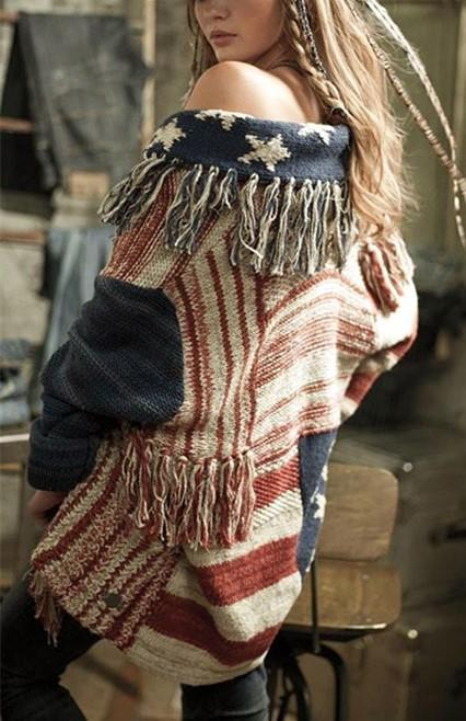 Fashion Fringe   Cardigan With A Star-Striped Knit Sweater Same As Photo m