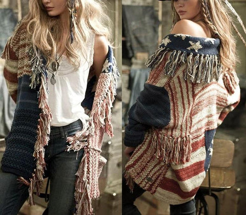 Image of Fashion Fringe   Cardigan With A Star-Striped Knit Sweater Same As Photo xl
