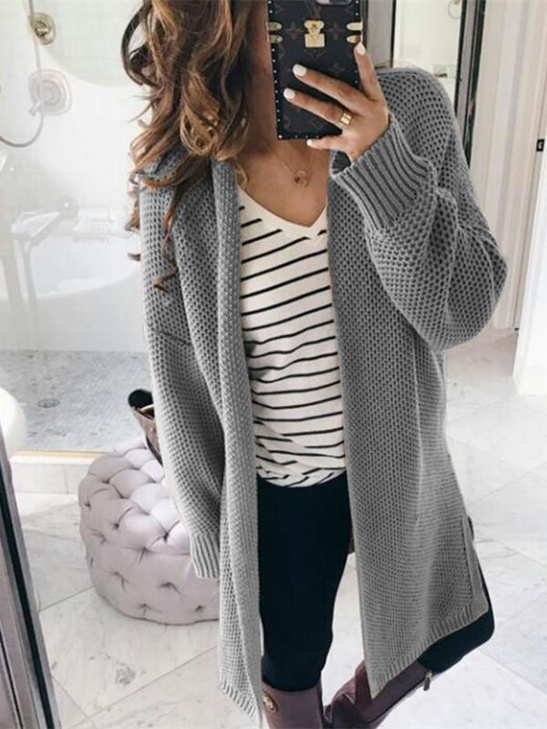 Pure Color Fashion   Loose Slit Knit Cardigans Pink m