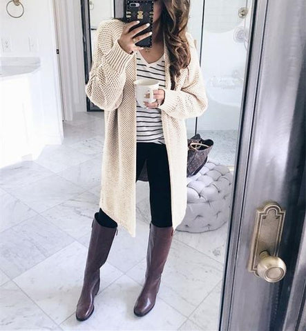 Image of Pure Color Fashion   Loose Slit Knit Cardigans Gray s