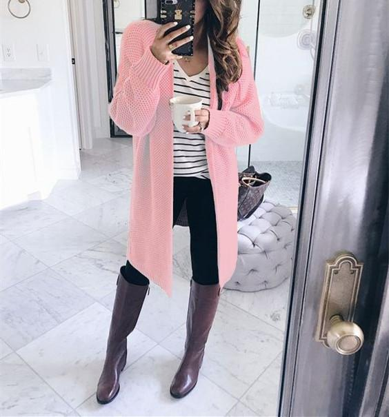 Pure Color Fashion   Loose Slit Knit Cardigans Pink s