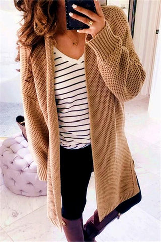 Image of Pure Color Fashion   Loose Slit Knit Cardigans Khaki s
