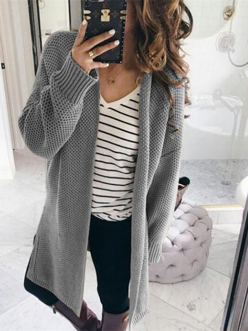 Image of Pure Color Fashion   Loose Slit Knit Cardigans Pink l