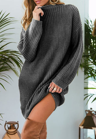 Image of Pure Color Fashion Is Loose In The Long Casual Sweater Gray m