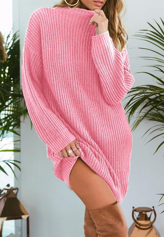 Pure Color Fashion Is Loose In The Long Casual Sweater Beige s