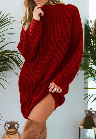 Image of Pure Color Fashion Is Loose In The Long Casual Sweater Green l