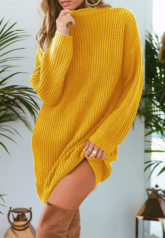 Image of Pure Color Fashion Is Loose In The Long Casual Sweater Beige l