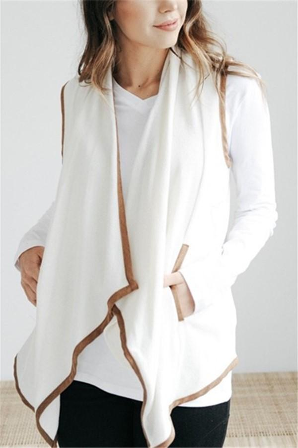 Pure Color Cardigan   Jacket In A Sleeveless Woolen Vest White s
