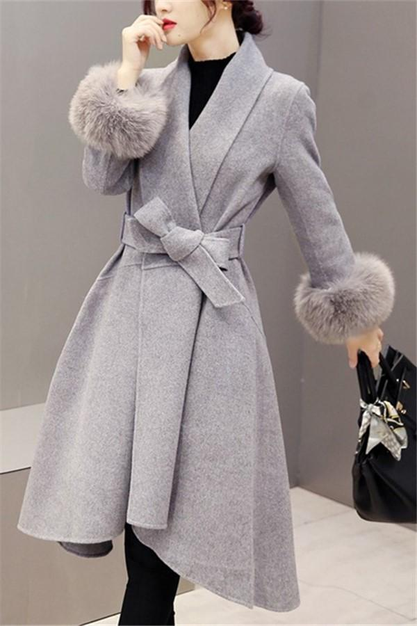 Pure Color Fashionable Copy Fur Fox Hair In Long Wool Overcoat Gray s