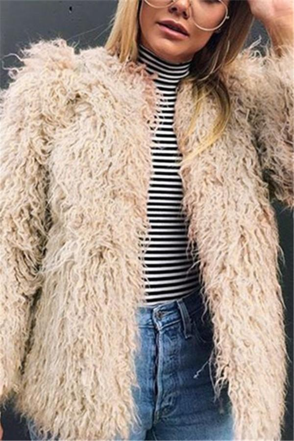 Pure Color Fashion Faux Fur Coat Khaki s