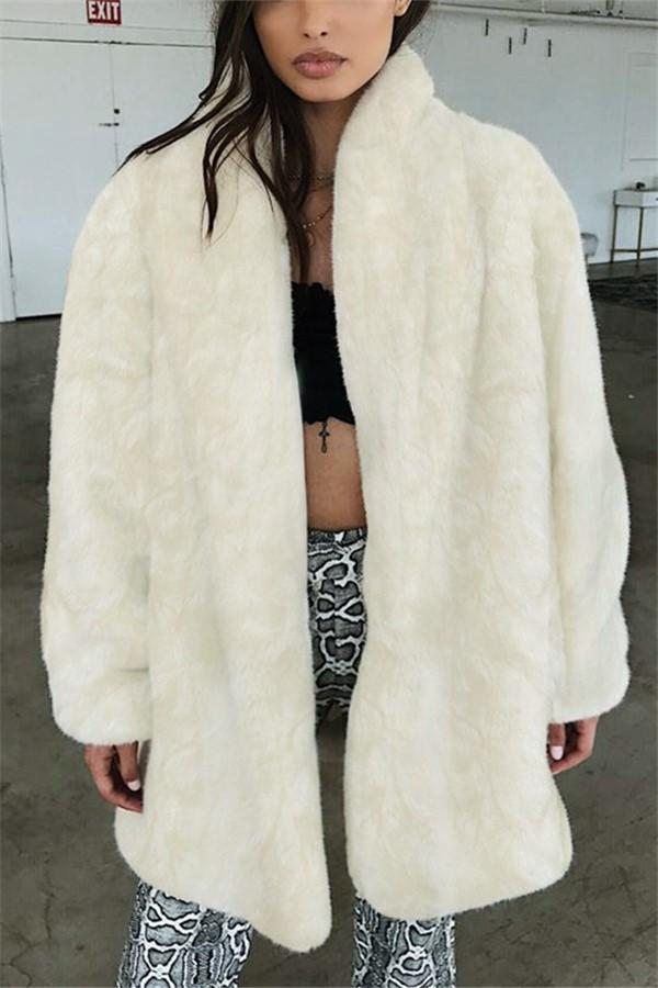 Pure Color Fashionable   Imitation Fur Coat Artificial Fur Coat Long Sleeve Warm Coat Beige s