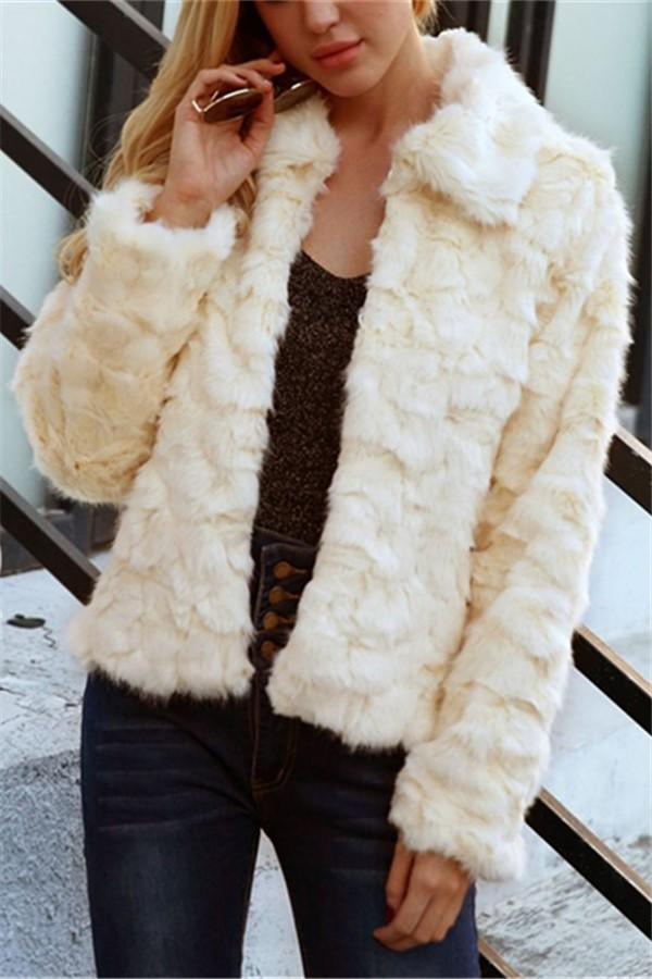 Pure Color Imitation Fox Short Plush Jacket Coat Beige s