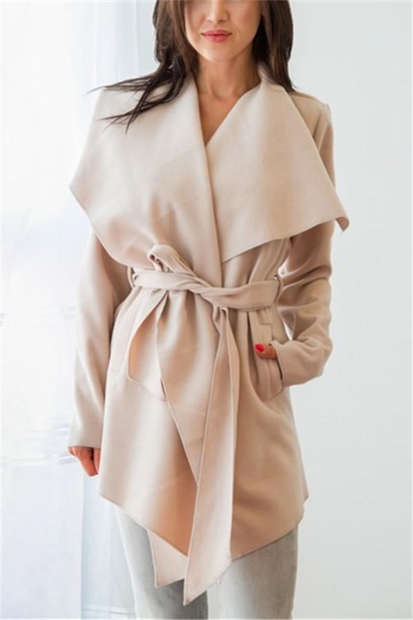 Pure Color Casual Slouchy Belted Woolen Overcoat Khaki s