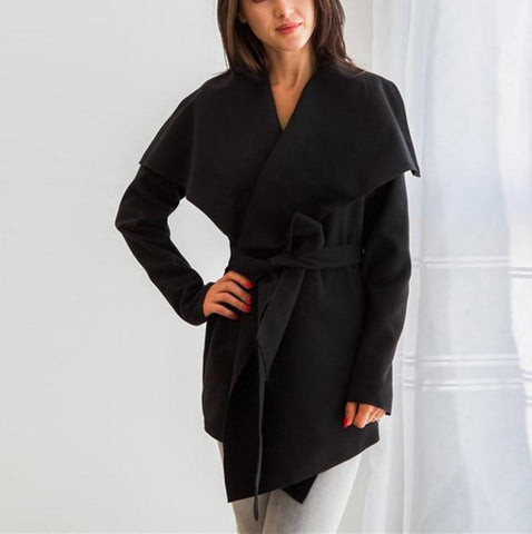 Image of Pure Color Casual Slouchy Belted Woolen Overcoat Black s