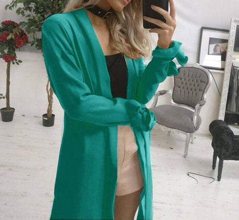 Image of Pure Color Slit Length Style Trench Coat Over Cardigan Green xl