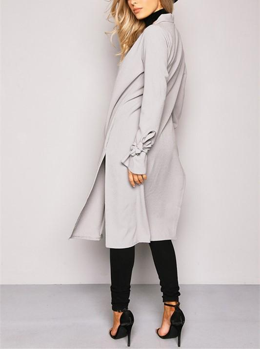 Pure Color Slit Length Style Trench Coat Over Cardigan Green l