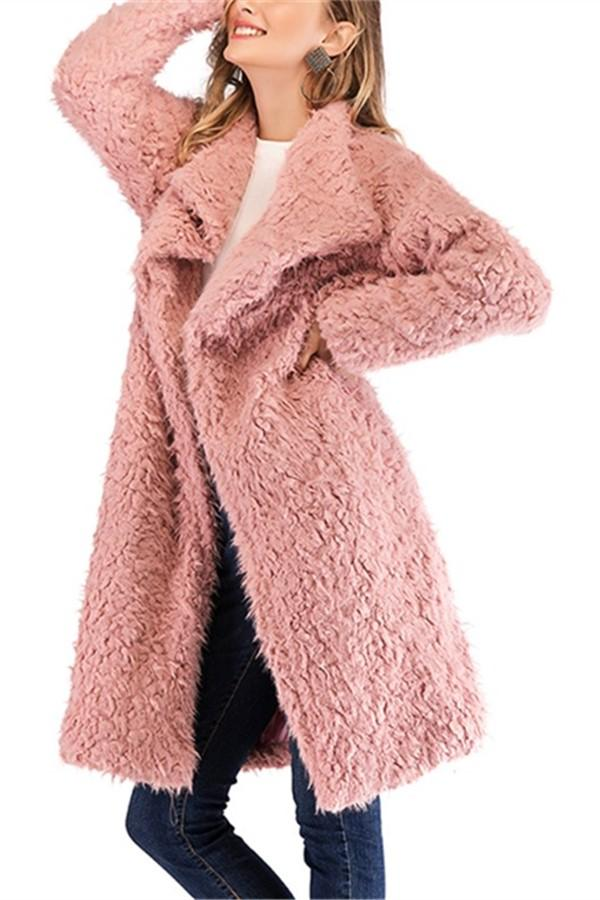 Pure Color Plush Baggy Wool Overcoat With Lapels Pink s
