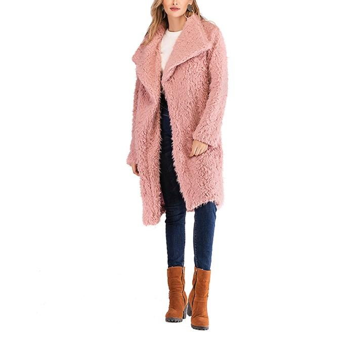 Pure Color Plush Baggy Wool Overcoat With Lapels Pink l