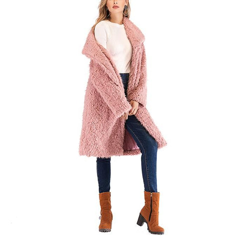 Image of Pure Color Plush Baggy Wool Overcoat With Lapels Pink xl