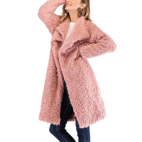 Image of Pure Color Plush Baggy Wool Overcoat With Lapels Pink m