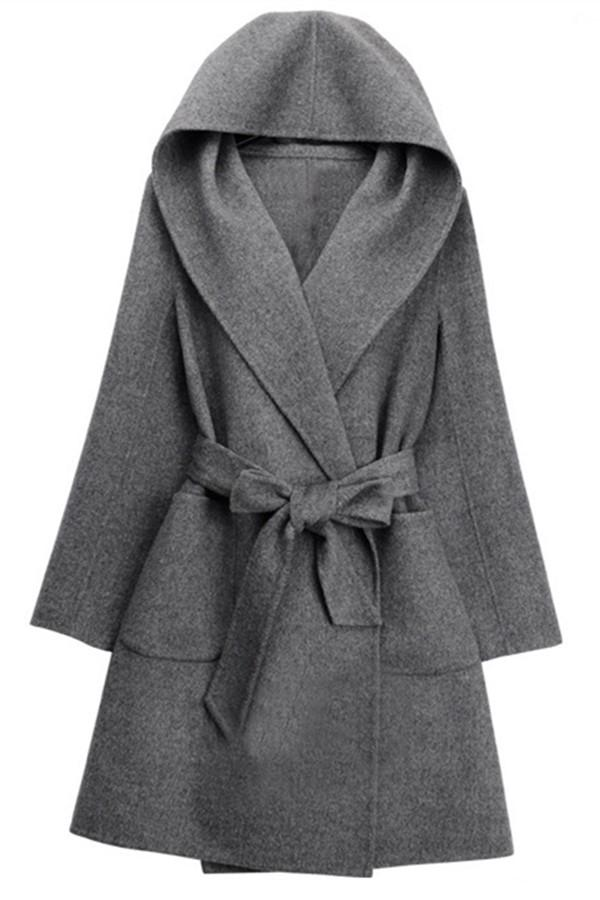 Pure Color Fashion Oversize Hooded Woolen Overcoat Gray one size