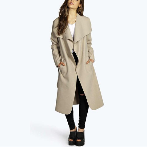 Image of Fashion Pure Color Oversize Woolen Overcoat Black 2xl