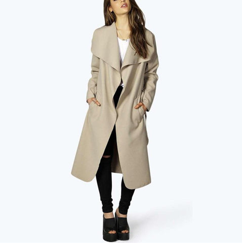Image of Fashion Pure Color Oversize Woolen Overcoat Black xl