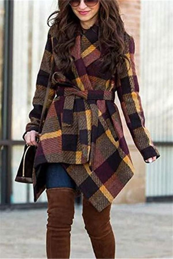 Fashionable Wool Overcoat With Irregular Checks Khaki s