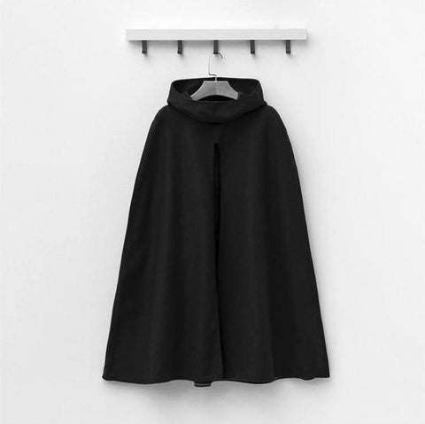 Image of Pure Color  Fashion Hooded Cloak Cape Coat Black s